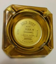 Liberal Slots Vintage Amber Glass Reno Nevada Gold Dust Casino Ashtray