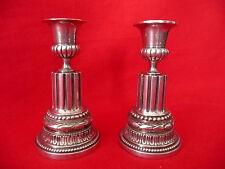 Paire de bougeoirs en bronze argenté louis XVI période 1900 silver candlesticks
