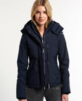 New Womens Superdry Pop Zip Hooded Arctic Windcheater Jacket French Navy