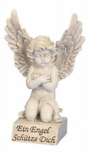 Engel auf Sockel Spruchstein 30 cm Grabschmuck Grabdeko Grabstein Gedenkstein