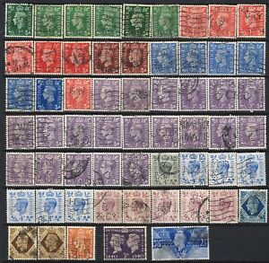 GB / UK - Lot stamps King George VI w. perfins