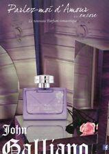 Publicité Papier- advertising paper- Parlez Moi d'Amour de John Galliano