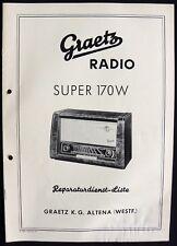 Historische Radio-Anleitung Graetz Super 170 W 1953/54 Original Extrem selten