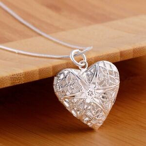 925 Sterling Silver lady jewelry fashion women wedding heart Charms necklace