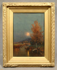 "19th Century Oil Painting Landscape, Unsigned ""Moonlight at Dusk"""