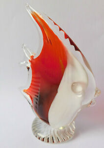 Glass angel fish figurine paperweight 12 cm red and white decorative ornament