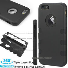 For iPhone 6+ 6S+ Plus Triple Layer Hybrid Silicon Matte Hard Case Armor Cover