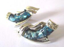 boucles d'oreilles clips vintage CORO couleur argent cabochon bleu cristaux 3395