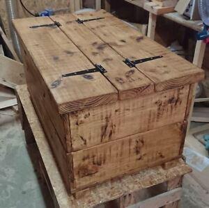 Large Coffee Table Storage Blanket Chest Rustic Solid Pine Wood Oak Wax Handmade