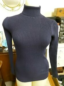New with Tags Lourdes Contrast Rib Roll Neck Navy Jumper by Editors Cut, Size 8