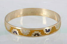 BRASS INDIA YELLOW ENAMEL FLOWER BLOSSOM DESIGN BANGLE BRACELET SIGNED 0717B