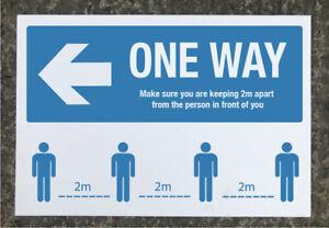 Social Distancing 'ONE WAY' Left arrow signage 600 x 400mm tough exterior grade