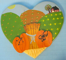 Wooden Autumn Fall Harvest Scene Handpainted Heart Wall Hanging Picture Green