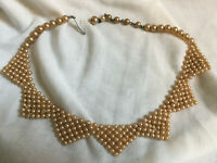 VINTAGE 1940s Simulated Pearl Collar Necklace