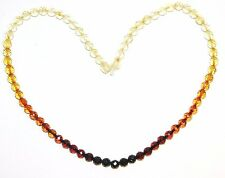 Baltic amber adult necklace, round faceted beads rainbow color 45 cm /17.72 inch