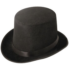 Black Tall Top Hat Adult Mens Gents Unisex Velour Topper Victorian QRUI-0023