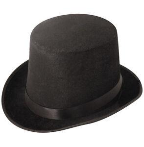 Black Tall Top Hat Adult Mens Gents Unisex Felt Topper Victorian QRUI-0023