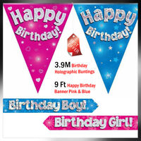 New Pink Blue Holographic Foil Birthday 9FT Banner & 3.8M Bunting, Boy, Girl,