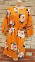 SELECT YELLOW WHITE FLORAL SHORT SLEEVE BELTED SHIFT SLIP TUNIC TEA DRESS 18