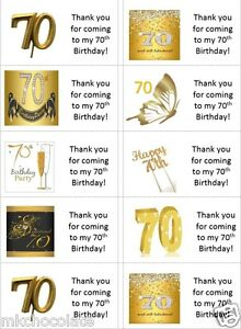 40 x Personalised 70th birthday gold labels/stickers/cake/party/sweets/bag