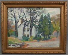 Antique MABEL WOODWARD New England Home, Impressionist Landscape Oil Painting NR