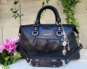 Coach ashley 15445 black leather convertible satchel shoulder bag purse