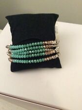 $42 KENNETH COLE BRACELET PEBBLE BEACH AQUA COLORED MIXED FACETED BEADS 104c