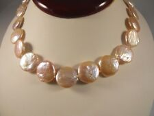 Pink Coin Shape Freshwater Pearl Necklace With Silver Toggle Clasp