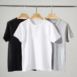 Men Button Neck Henley T-shirt Short Sleeve Top Tee Slim Fit Cotton Basic Solid