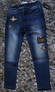 """NWT MISS ME High Rise """"LOVE"""" Star Embroidered Skinny Ankle Denim Jeans 29 W"""