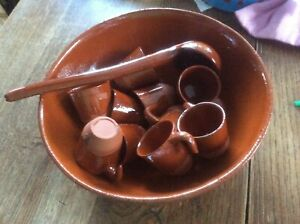 Vintage Terracotta Punch Bowl, Ladle and Cups