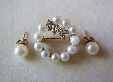 14k Yellow Gold Matching Pearl Pendant Pin w/ Diamonds and Earrings 4.64 Grams