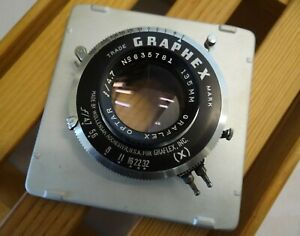 Wollensak Optar 135mm f4.7 lens in Graphex shutter - 4x5 cameras - with board