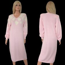 Vintage 80s SWEATER DRESS Knit New Wave John Richard Boho Pink White Angora L