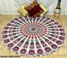 Cotton Queen Tapestry Top Peacock Mandala Roundie Picnic Hippie Wall Art Ombre