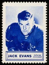 1961/62 TOPPS NHL HOCKEY INSERT STAMP Jack Evans EX+ CHICAGO BLACK HAWKS
