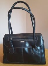 Black Jane shilton handbag with feature exaggerated white stitching.