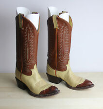 Tony Lama Youth Boots Size 4.5 B Brown & Creme Leather Reptile Toe Style 6216