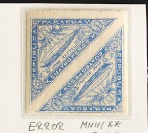 PARAGUAY 1932 ERROR Imperforated Vertical XF MNH/** ZEPPELIN Flight Airmails !!!