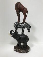 Gorgeous Trio Of Animal Pyramid - Giraffe Zebra Elephant Ornament.