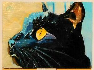 ACEO original oil painting animal BLACK CAT feline blue impressionist art ATC