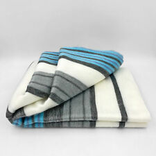 "SOFT & WARM STRIPED ALPACA LLAMA WOOL BLANKET PLAID 90""x65"" QUEEN"