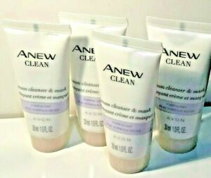 AVON  ANEW CLEAN CREAM CLEANSER & MASK  NORMAL/DRY BUNDLE OF 4 TRAVEL SIZE