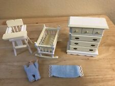 Dollhouse Miniatures Nursery Furniture Cradle, Dresser, High Chair and Baby Doll