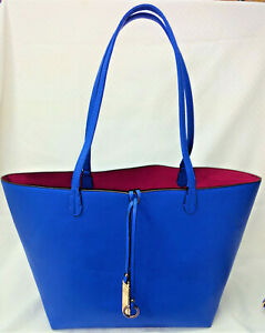 Tote and Shoulder Bag  Electric Blue with Magenta Interior on Tote   BEAUTIFUL