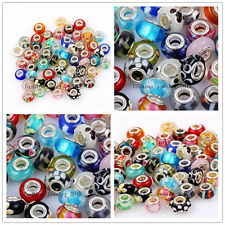 Wholesale Lots 100Pcs Assorted Murano Glass Silver Beads Fit European Bracelet