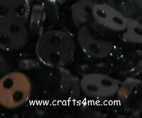 50 4mm Micro Mini Tiny Black Round Sewing Buttons Doll Buttons