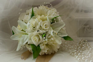 Bridesmaid Bouquet in Ivory with Roses Gerberas Lilys