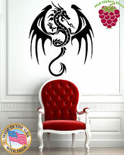 Wall Stickers Vinyl Decal Flying Dragon Spitting Fire Medieval Tales  EM479