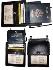 3 New Black Leather passport case wallet Card case ID Holder BNWT Lowest Price